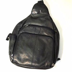 Vintage 90s Black Leather Franklin Covey Backpack